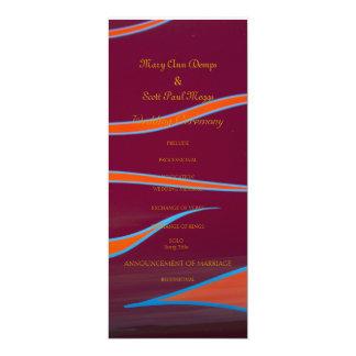 Hotrod anaranjado flamea programa del boda invitación 10,1 x 23,5 cm