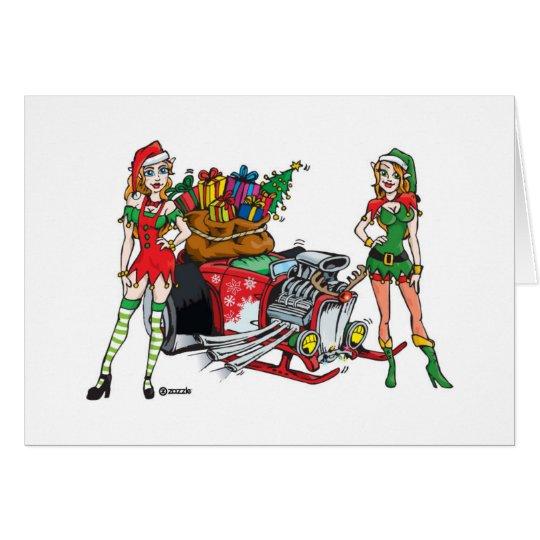 hotrod del navidad tarjeta de felicitación