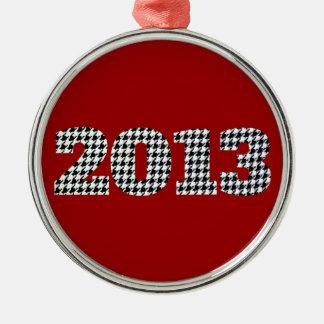 Houndstooth 2013 adorno navideño redondo de metal