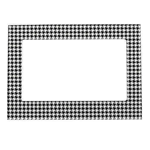 Houndstooth blanco y negro marcos magnéticos para fotos