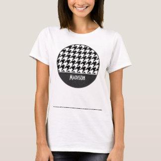Houndstooth negro y blanco camiseta