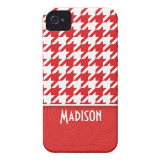 Houndstooth rojo y blanco lindo iPhone 4 protector