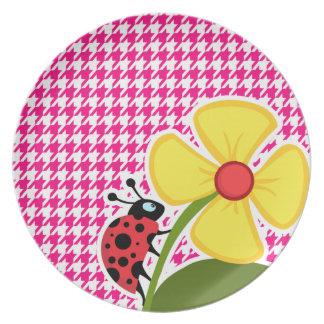 Houndstooth rosado brillante Mariquita Platos Para Fiestas