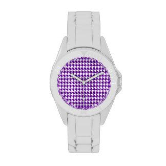 Houndstooth violeta oscuro relojes