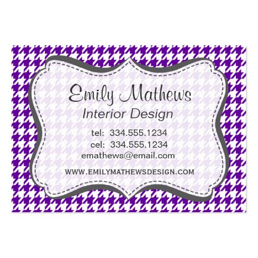 Houndstooth violeta oscuro plantilla de tarjeta de negocio
