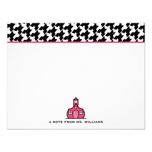 Houndstooth y rosa Notecards plano para los profes Invitaciones Personales