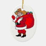 Howdy Santa - ornamento oval Ornamentos De Reyes Magos