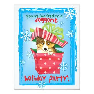 Howliday feliz Sheltie Invitación 10,8 X 13,9 Cm