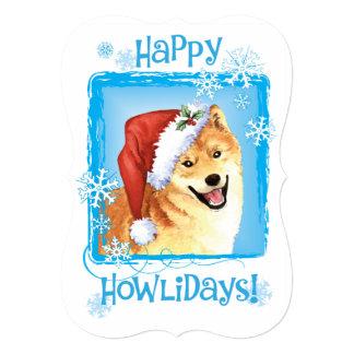Howlidays feliz Shiba Inu Invitación 12,7 X 17,8 Cm