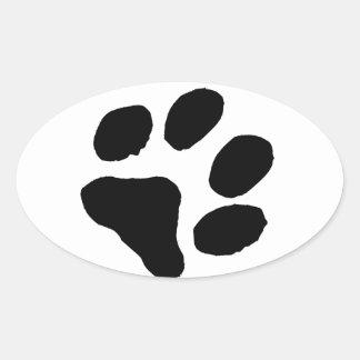Huella del gato calcomanía ovalada