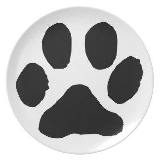 Huella del gato plato de comida