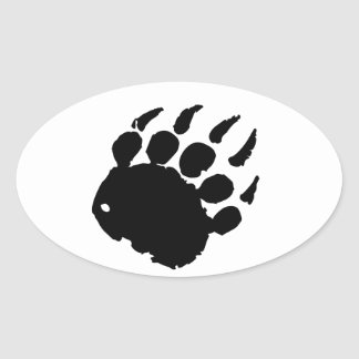 Huella del oso colcomanias de óval