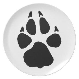 Huella del perro platos de comidas