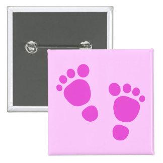 ¡Huella rosada del bebé es un chica! Botón