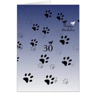 Huellas del gato (añada la fotografía dentro) tarjeta de felicitación