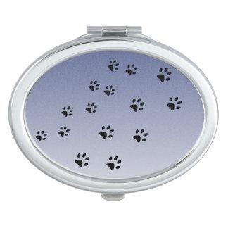 Huellas del gato azules espejos de maquillaje