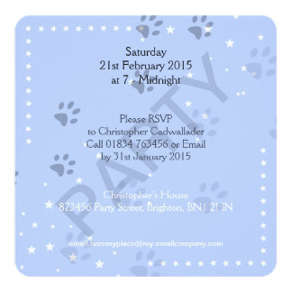 Huellas del gato con el modelo azul invitación 13,3 cm x 13,3cm