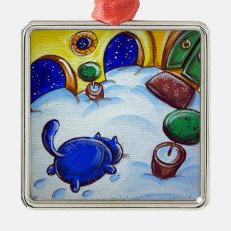 Huellas del gato en la nieve adorno navideño cuadrado de metal