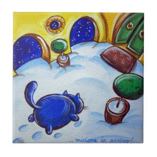 Huellas del gato en la nieve teja  ceramica