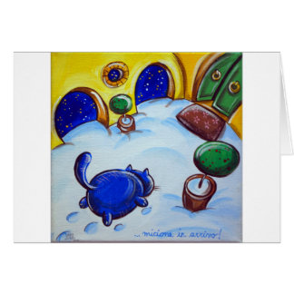 Huellas del gato en la nieve felicitación