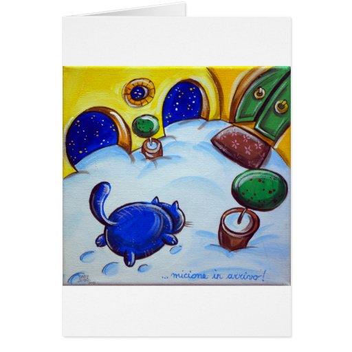 Huellas del gato en la nieve tarjeton
