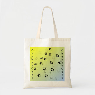 Huellas frescas del gato con el fondo amarillo bolsa