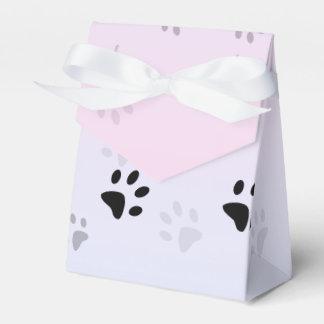 Huellas frescas rosa y azul del gato cajas para regalos de boda