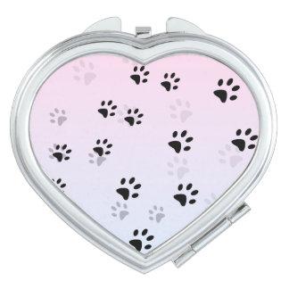 Huellas frescas rosa y azul del gato espejos de maquillaje