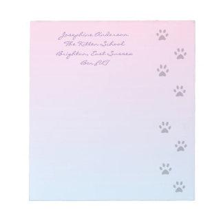 Huellas rosa y azul del gato libreta para notas