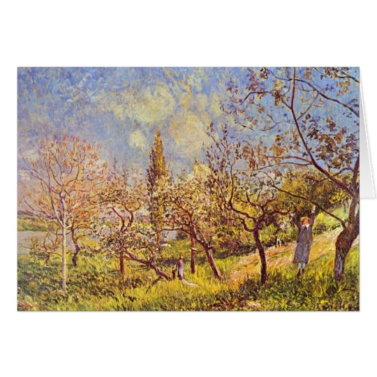 Huerta de Alfred Sisley en primavera Tarjeta Pequeña