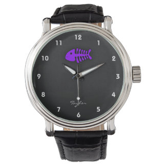 Huesos de pescados púrpuras violetas relojes de mano