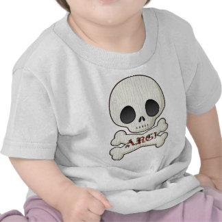 Huesos del cráneo y de la cruz del pirata del bebé camiseta