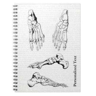 Huesos humanos de la anatomía del viejo arte libreta espiral