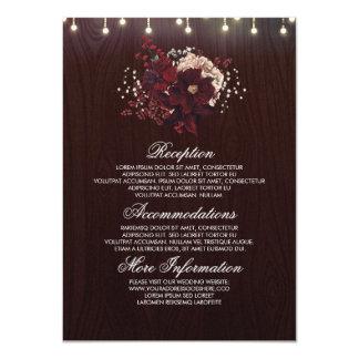 Huésped rústica floral de la información del boda invitación 11,4 x 15,8 cm