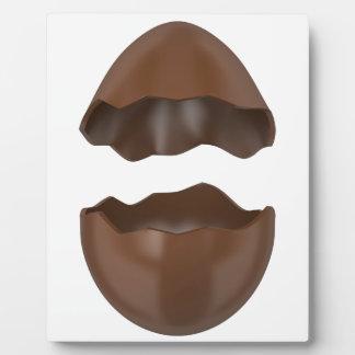 Huevo de chocolate quebrado placa expositora
