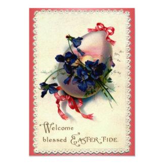 Huevo de Pascua del vintage con las violetas Invitación 12,7 X 17,8 Cm