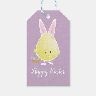 Huevo de Pascua en etiquetas del regalo del equipo