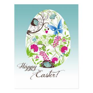 Huevo de Pascua floral con volantes Tarjeta Postal