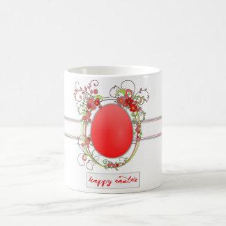 Huevo de Pascua rojo, marco floral Taza De Café