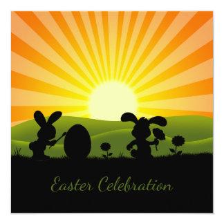 Huevo lindo de la pintura del conejito de pascua - invitación 13,3 cm x 13,3cm
