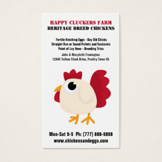Huevo o granja avícola lindo del dibujo animado tarjeta de negocios