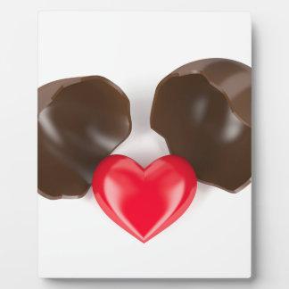 Huevo y corazón de chocolate placa expositora