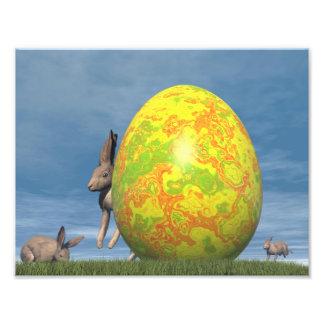 Huevo y liebres de Pascua - 3D rinden Foto