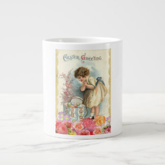 Huevos coloreados saludo feliz de Pascua del chica Taza De Café Grande