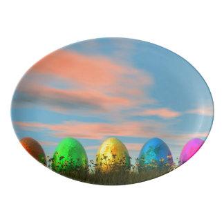 Huevos coloridos para pascua - 3D rinden Bandeja De Porcelana
