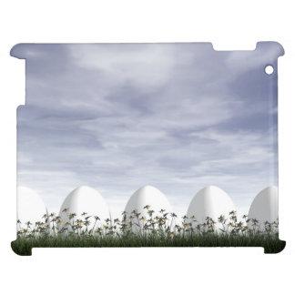 Huevos de Pascua blancos en naturaleza - 3D rinden