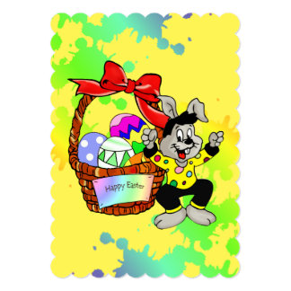 Huevos de Pascua coloridos en cesta con el baile Invitación 12,7 X 17,8 Cm