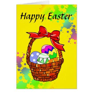 Huevos de Pascua coloridos en cesta Tarjeta De Felicitación