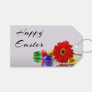 Huevos de Pascua con el Gerbera - etiqueta del