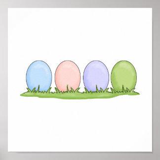 huevos de Pascua en colores pastel coloridos Póster